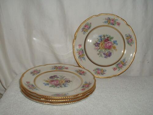 "4 Castleton Rose  6 1/2"" Bread & Butter Plates Gold Trim"