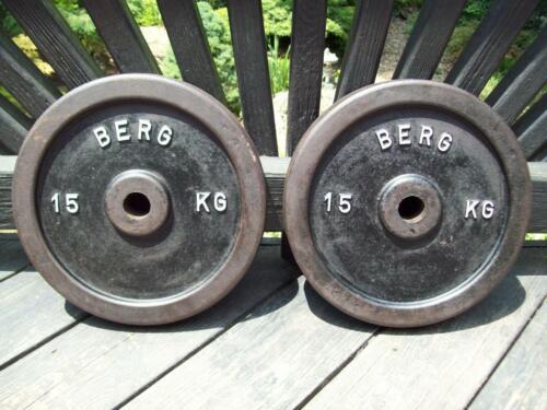 RARE vtg BERG BARBELL 15kg BODYBUILDING Strongman YORK Fitness WEIGHTLIFTING Gym