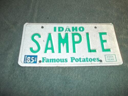 Idaho Sample License plate 1985 original automobile