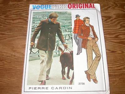 Vintage VOGUE Pattern PIERRE CARDIN Men's Jacket & Pants Chest 40 Waist 34 Uncut