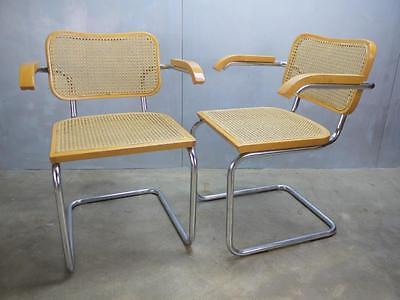 4 Marcel Breuer Tubular Chrome Cane Bauhaus Mid Century Cesca Arm Chairs Italy