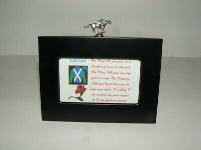 BARBARO HORSE RACING JOCKEY SILK MINIATURE MEMORIAL FIGURINE FRAME DISPLAY ()