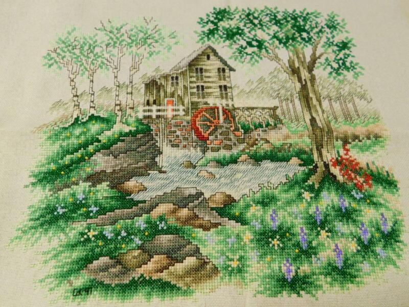 """Finished Completed Counted CROSS STITCH Sampler MILL WATERWHEEL Piece 10x11"""""""