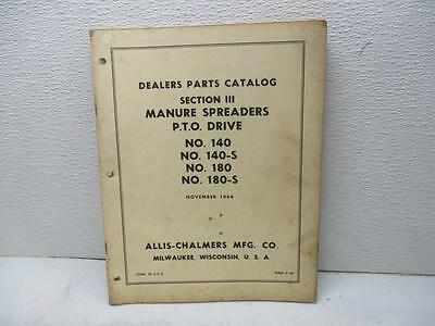 Allis Chalmers Dealers Parts Catalog Section Iii Manure Spreader Pto Drive D-38