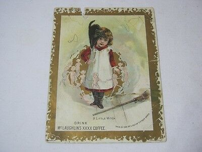 McLaughlin's Coffee 1890's Adv Card Halloween Black Cat Witch  T* - Halloween 1890s