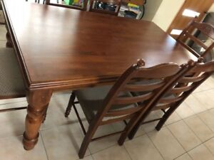 SOLID TIMBER DINING TABLE & 12 MATCHING CHAIRS