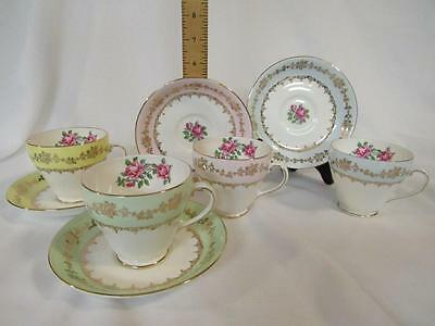Royal Grafton Set of 4 Cups & Saucers Roses, Pastel Band & Gold, Made in England