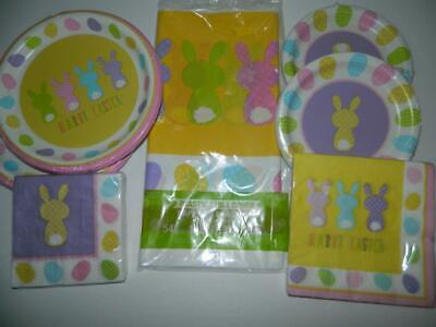Easter Party Plates Napkins Tablecloth Bunny Butt Cottontails Supplies Tableware - Easter Tableware