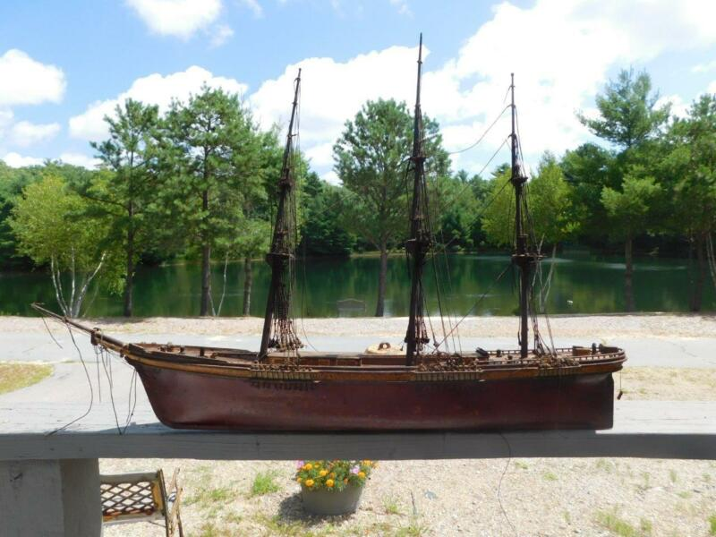 "ANTIQUE VINTAGE SHIP MODEL SAILING SHIP WOODEN MODEL HULL 28"" NAUTICAL DETAILS"