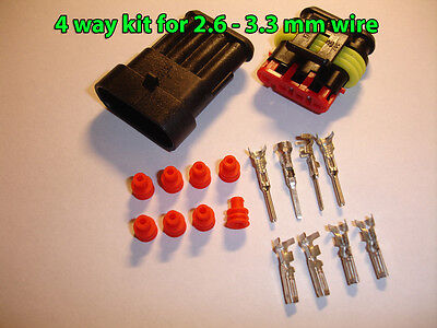 4way AMP Superseal 1.5 Series Waterproof Sealed Connector Kit 2.6 - 3.3 mm wire