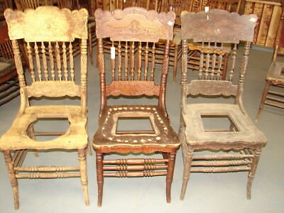 #63 - 2 Antique Pressed Back Chairs w/Lion Face & Spiral Spindles - Restoration  Antique Spindle Back Chairs