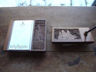 EXOTIC WOOD CARVED DESK PEN AND PAD SET WITH SAILING SHIP MOTIF
