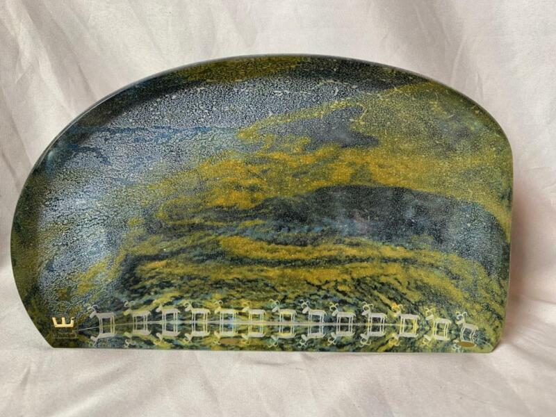 Kosta Boda Large Art Glass Sculpture Goran Warff Lapland Series Petroglyph
