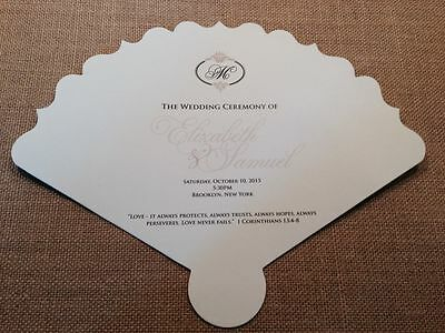 Wedding Programs Fans (1 SAMPLE Wedding Ceremony Program Fan with decorative)