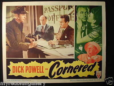 Cornered 1946 Dick Powell RKO Pictures Director: Edward Dmytryk Lobby Card