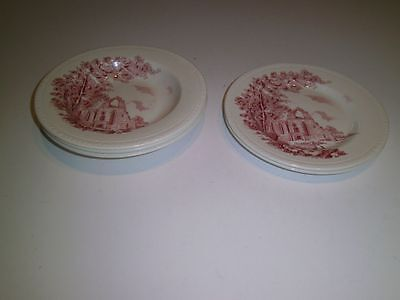 Vintage Royal Tudor Ware Olde Abbey Staffordshire England RED 3 Bowls 2 Plates