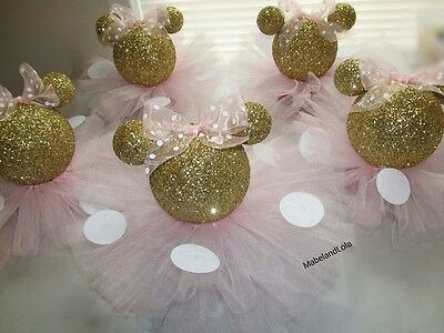 Minnie Mouse Baby Shower Centerpieces (Gold Glitter Minnie Mouse Set 4 Centerpieces 1st Birthday Baby Shower Pink)