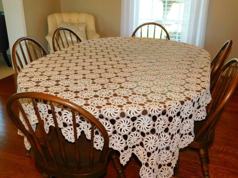 "Antique Vintage Ecru Cotton HAND CROCHETED TABLECLOTH Pinwheel 58x94"" Lace"