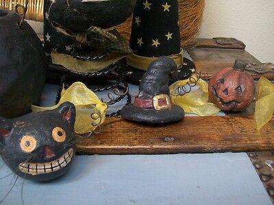 5' Black Cat Pumpkin Head Witch Hat Paper Mache' Coiled Wire Halloween GARLAND