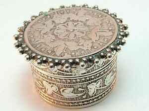 Antique Solid Silver Pill Box Pot/ Lidded Pot