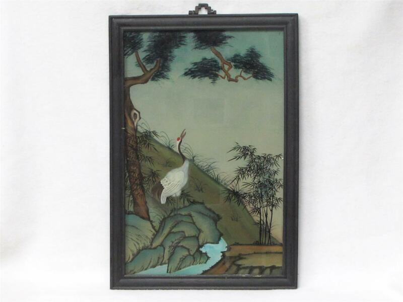 BEAUTIFUL VINTAGE CHINESE REVERSE GLASS PAINTING OF A CRANE IN THE WILD