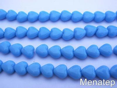 50 6x6mm Czech Glass Heart Beads: Opaque Turquoise Blue Glass 6mm Heart Beads