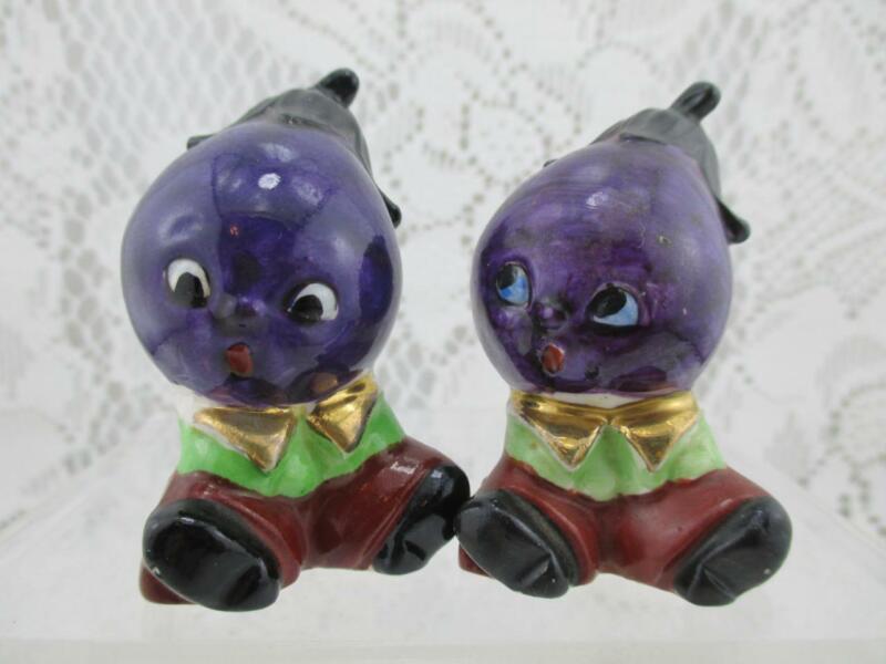 Vintage Anthropomorphic Eggplant Faces~ Salt and Pepper Shaker~Japan