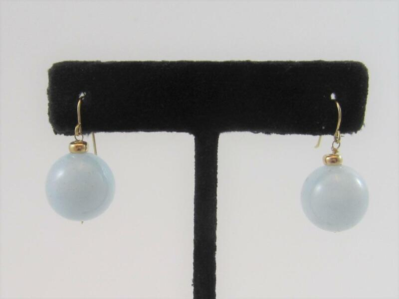 Statement Aquamarine Round 14mm Ball Hook Dangle Drop Earrings 14K Yellow Gold