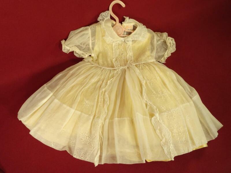 VINTAGE 1950s SHEER BABY GIRL DRESS 3 PC EYELET LACE TULLE SKIRT SZ 2 CELESTE NY