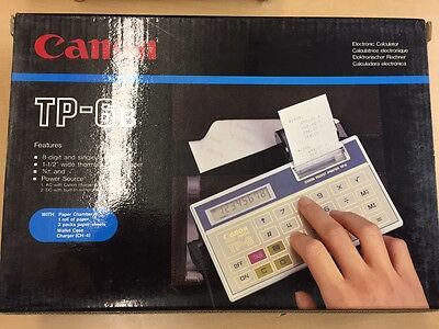 CANON TP-6B ELECTRONIC CALCULATOR W/ CHARGER AND CASE NIB