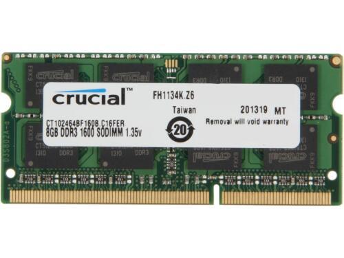 Crucial 8GB 1.6GHz PC3-12800 DDR3L SO-DIMM Unbuffered Non-ECC Laptop Memory CT102464BF160B