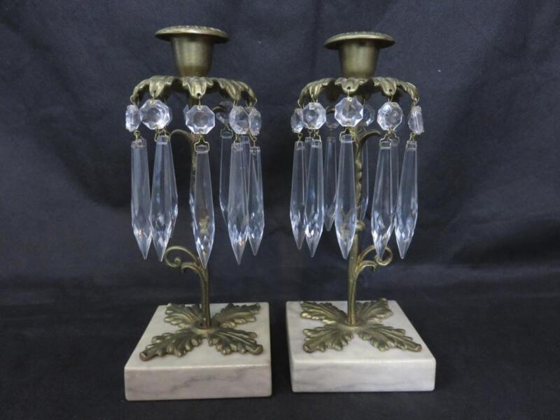 Antique Pair Art Nouveau Brass Marble Candleholders Original Crystal Prisms