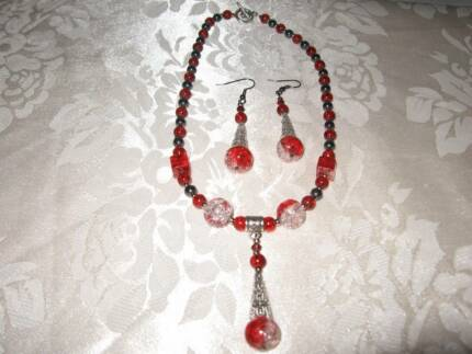 Handmade Red Glass Necklace & and Earrings Set