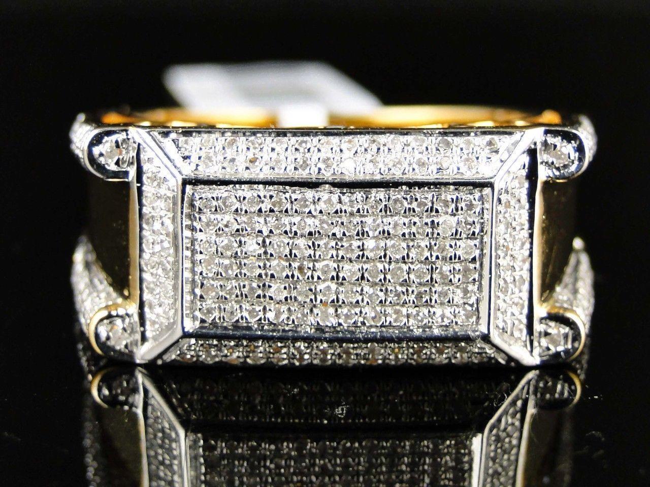 .75 Ct Round Cut Diamond 14K Yellow Gold Finish Xl Mens Pinky Wedding Band Ring