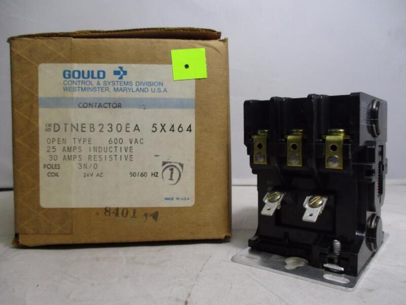 Gould 3P Contactor DTNEB230EA 5X464 600VAC 25A- IND. 30A-RES. 24V 50/60Hz