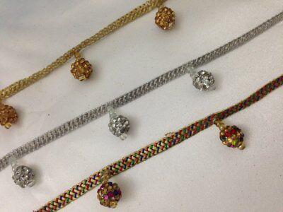 Fancy Gold balls tassel Beaded Indian Lace Bridal Trim 3cm wide Ethnic 1 Yard AD Fancy Lace Trim