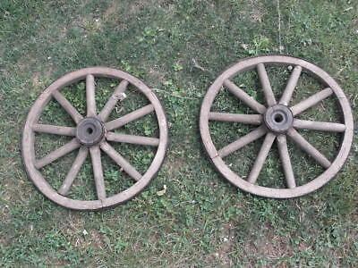 Antique Primitive Country Decor Wagon Wheel Buggy Car Wheel Wood  Cart CARIOLE