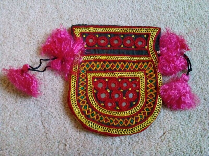 Vintage Handmade Hand Stitched Colorful Indian Drawstring Pouch Purse Bag