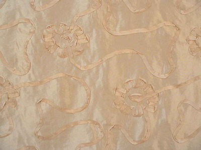 Drapery Upholstery Fabric Faux Silk Taffetta with Ribbon Scroll - Cream