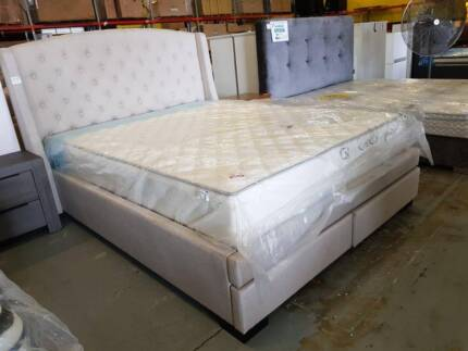 QUEEN SIZE HIGH HEAD BOARD 2 DRAWER FABRIC UPHOLSTERED BED FRAME