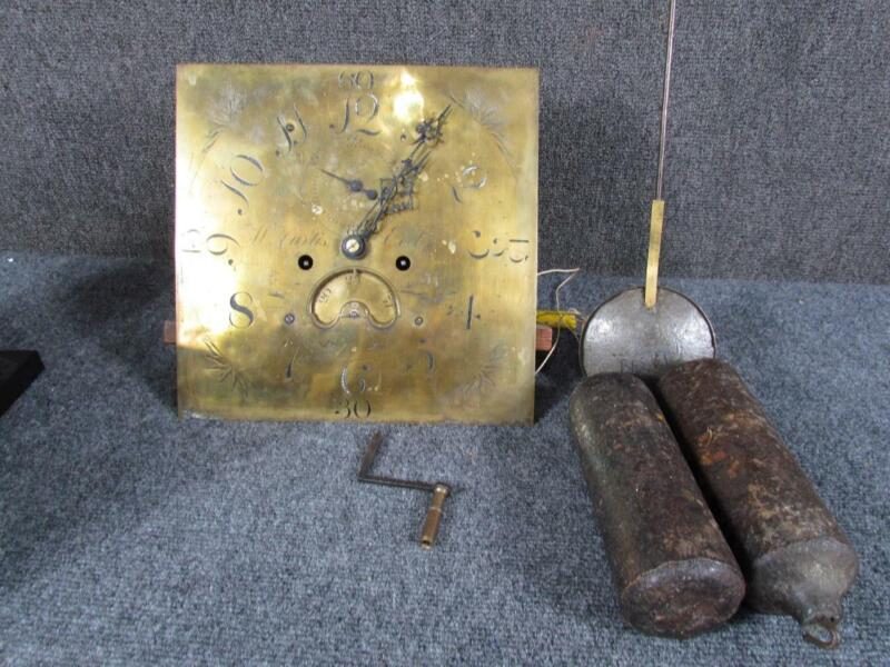ANTIQUE W.CURTIS EXETER ENGLISH BRASS TALL CASE GRANDFATHER CLOCK FACE &MOVEMENT