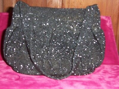 1930s Handbags and Purses Fashion French beaded evening bag  Black with mirror and change purse  1930s Mint $175.00 AT vintagedancer.com