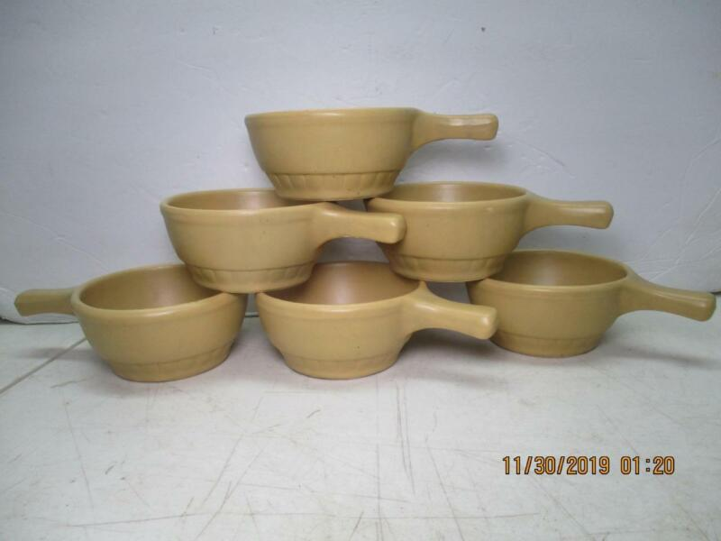 Lot of 6 Mt Clemens McCoy Open Individual Soup Bowls Handled USA