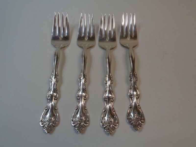 1971 INTERLUDE International Silverplate Salad Forks Lot of 4 Rose Design
