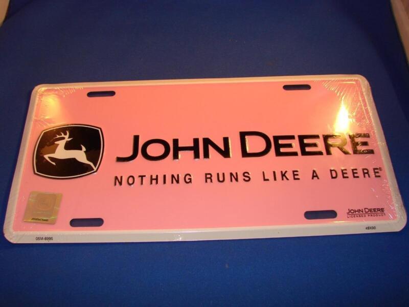 New Ladies Pink John Deere NOTHING RUNS LIKE A DEER - LICENSE PLATE Skrink Wrap