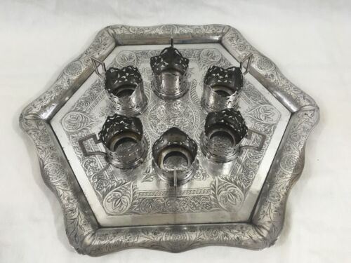 Antique Persian/ Russian Silver & Niello Serving Tray with 6 Teacup Holders
