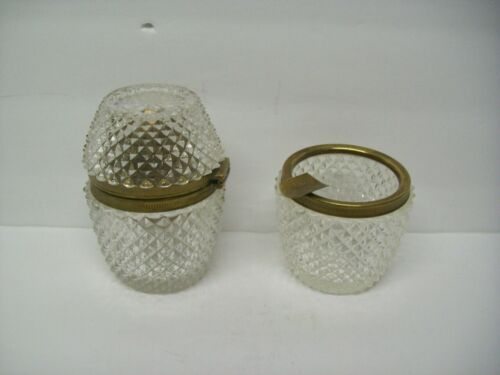 Vintage French Cut Glass & Bronze Table Lighter AND Matching Ashtray Stunning!!