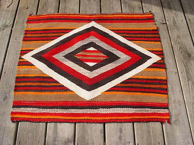Native American Single Saddle Blanket ~ circa 1890 - 1910 Navajo Woven Textile