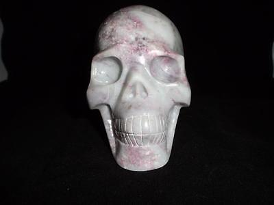 Plum Tourmaline Carved Crystal Skull Realistic Free Shipping USA Seller