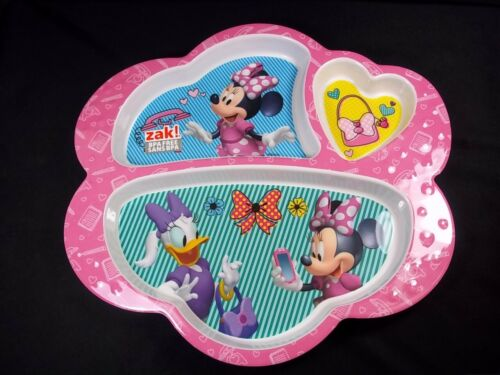 Disney Minnie & Daisy 3 part divided melamine plate pink border rim NEW